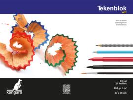 Kangaro Tekenblok Kangaro 27 x 36 cm - 20 vellen - 200 grams wit papier