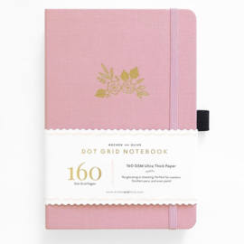 Archer & Olive bulletjournal/Notitieboek A5 - 160 pagina's - Dotted - Light Pink