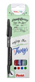 Brushpen Pentel Brush Sign Pen SES15C Handlettering - set van 4 - Set 1