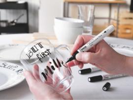 Kreul glas & porseleinstiften Easy Brushpen zwart