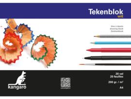 Kangaro Tekenblok Kangaro 21 x 29,7 cm - 20 vellen - 200 grams wit papier