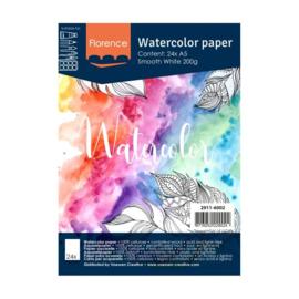 Florence Aquarelpapier smooth Intense White - 24 vellen 200 grams papier - A5