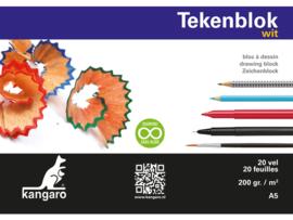 Kangaro Tekenblok Kangaro A5 - 20 vellen - 200 grams wit papier
