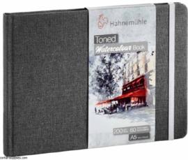 Hahnemühle Grey toned watercolour book A6 landscape - 60 pagina's - Grijze kaft - Lichtgrijs papier