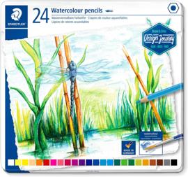 Staedtler Aquarel potloden heldere tinten - set van 24 in metalen blik