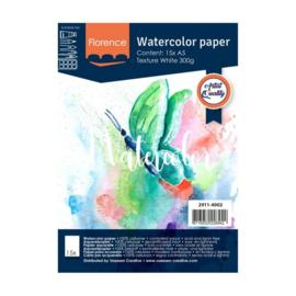 Florence Aquarelpapier texture Intense White - 15 vellen 300 grams papier - A5