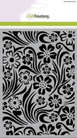 CraftEmotions Mask stencil - Achtergrond bloem swirl blad A5