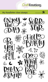 CraftEmotions clearstamps A6 - Handletter - Enjoy the day - Super star - Carla Kamphuis