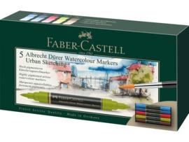 Faber Castell aquarel marker Albrecht Dürer - set van 5 - Urban Sketching