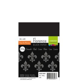 Florence Black Paper Smooth A6 - 40 vellen - 300 grams - zwart papier