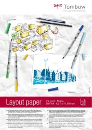 Tombow Layout alcohol marker papier A4 - 75 vellen - 75 grams Wit