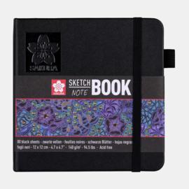 Sakura Brush / Schetsboek 12 x 12 cm  - 80 vellen - Zwart papier