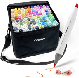 Ohuhu Alcohol based Art markers Brush & chisel - set van 120 + etui