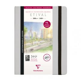 Clairefontaine Etival Aquarelpapier boek - 16 x 21 cm - 24 vellen 300 grams - cold pressed +  4 stuks vloeipapier