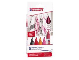 Edding Textielstiften 2-3 mm Roodtinten - set van 5