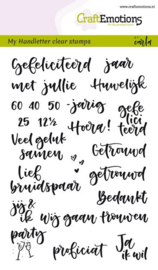 CraftEmotions clearstamps A6 - handletter - huwelijk Carla Kamphuis  - set van 24