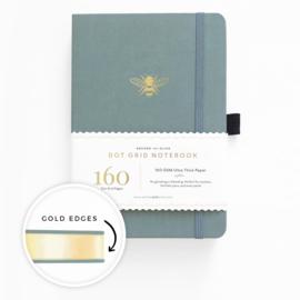 Archer & Olive bulletjournal/Notitieboek A5 - 160 pagina's - Dotted - Vintage Bee met gouden rand