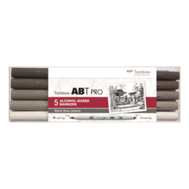 Tombow ABT PRO Alcohol based markers - Warm Grey colours - set van 5
