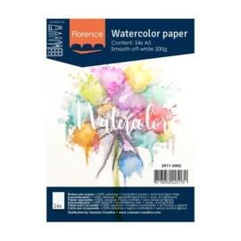 Florence Aquarelpapier smooth off white  - 24 vellen 200 grams papier - A5