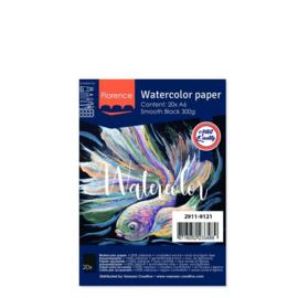 Florence Aquarelpapier smooth Black - 20 vellen 300 grams Zwart papier - A6