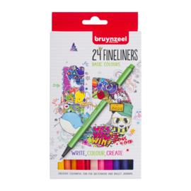Bruynzeel Fineliners Basic Colours - set van 24