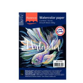 Florence Aquarelpapier smooth Black - 15 vellen 300 grams Zwart papier - A5
