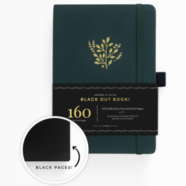 Archer & Olive THE BLACKOUT BOOK bulletjournal/Notitieboek A5 Deep Green - 160 pagina's - Dotted - Zwart Papier