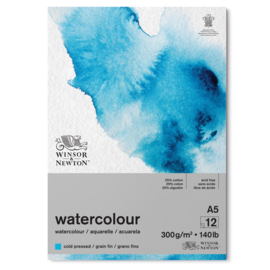 Winsor & Newton Aquarelpapier blok A5 - cold pressed - 300 grams - 12 vellen