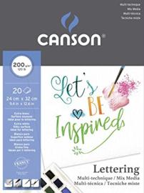 Canson Mix Media Lettering papierblok - 20 vellen - 200 grams - 24 x 32 cm