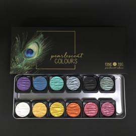 FINETEC Aquarelverf - verftablet 30mm metaalkleuren F1200 - 12 kleuren