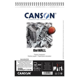 Canson The Wall alcohol marker papier spiraalblok - 30 vellen 200 grams - A4