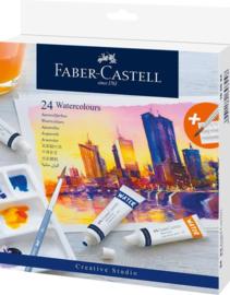 Faber-Castell aquarelverf tubes - set van 24 kleuren + penseel + mengpalet