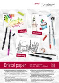 Tombow Lettering Bristol papier A4 - 25 vellen 250 grams Hagelwit