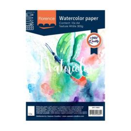 Florence Aquarelpapier texture Intense White - 10 vellen 300 grams papier - A4