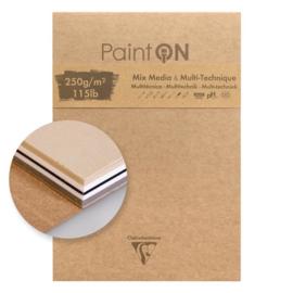 Clairefontaine Paint-ON Multi-Technique & mixed media 10,5 x 14,8 cm - 50 vellen - 250 grams - mix papier
