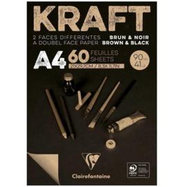 Clairefontaine Kraft A4 - 60 vellen - 90 gram - kraft zwart papier