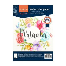Florence Aquarelpapier texture off white - 10 vellen 300 grams papier - A4