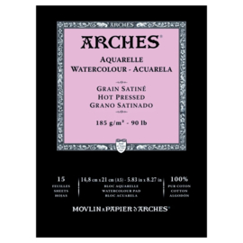 Arches Aquarelpapier - Hot pressed - 185 grams - 15 vellen - A5