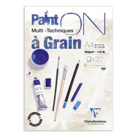 Clairefontaine Paint-ON Multi-Technique a Grain mixed media A4 - 20 vellen - 250 grams - wit papier