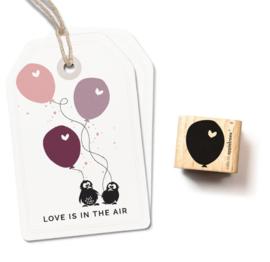 Cats on Appletrees - Houten stempel - 20x20mm - Ballon 4 with little heart