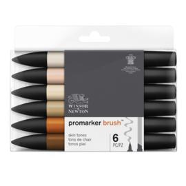 Winsor & Newton promarkers Brush - Skin tones - set van 6