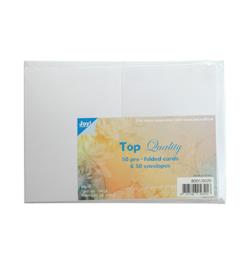 Joy Crafts dubbele kaarten & enveloppen A6 - wit papier - set  van 50
