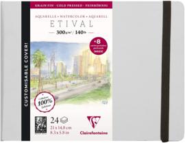 Clairefontaine Etival Aquarelpapier boek - 21 x 14,8 cm - 24 vellen 300 grams  - cold pressed +  8 postkaarten
