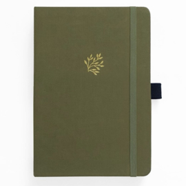 Archer & Olive bulletjournal/Notitieboek A5 - 160 pagina's - Dotted - Green Leaf
