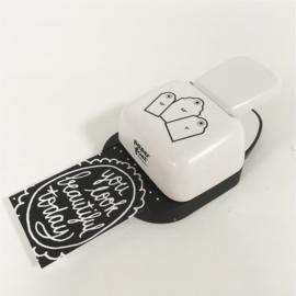 Voordeelpakket: Paperfuel etiketten pons hoek 3 in 1 & Paperfuel Labelblok 15 x 15 cm - 40 vellen - Lots of Blanc Labels