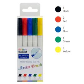 Marvy Uchida Artist Brush Pen - set van 5 - Primary
