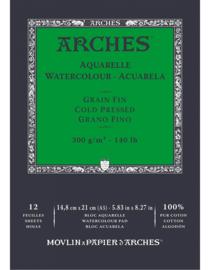 Arches Aquarelpapier - cold pressed - 300 grams - 12 vellen - A5