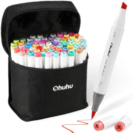 Ohuhu Alcohol based Art markers Brush & chisel - set van 72 + etui