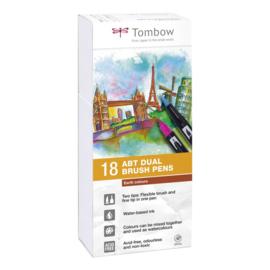 Tombow ABT Dual Brush Pen - set van 18 Earth colours
