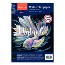 Florence Aquarelpapier smooth Black - 10 vellen 300 grams Zwart papier - A4